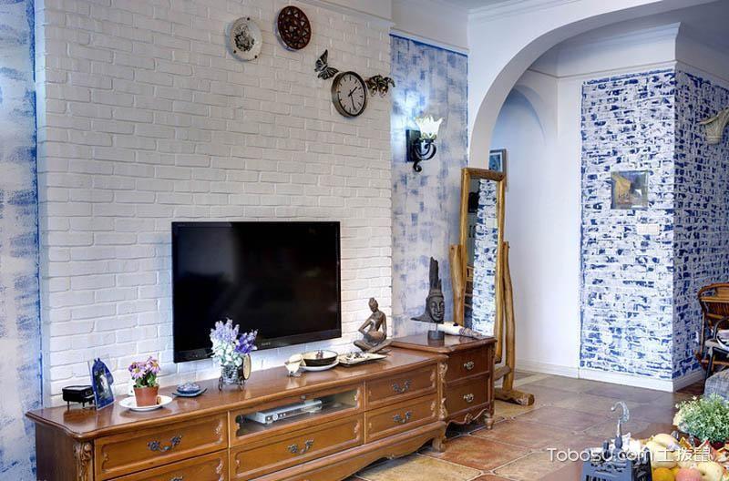 清新蔚蓝风 95平地中海三居室设计图