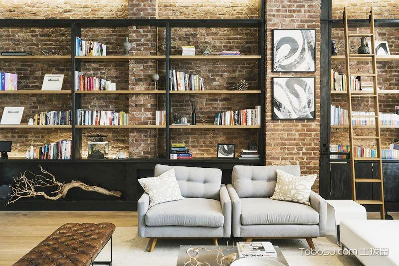 2020复古客厅装修设计 2020复古书架装修图
