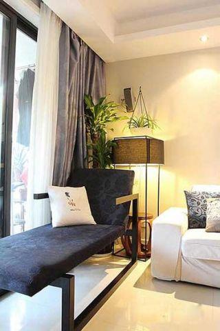 客廳躺椅灰色窗簾設計方案