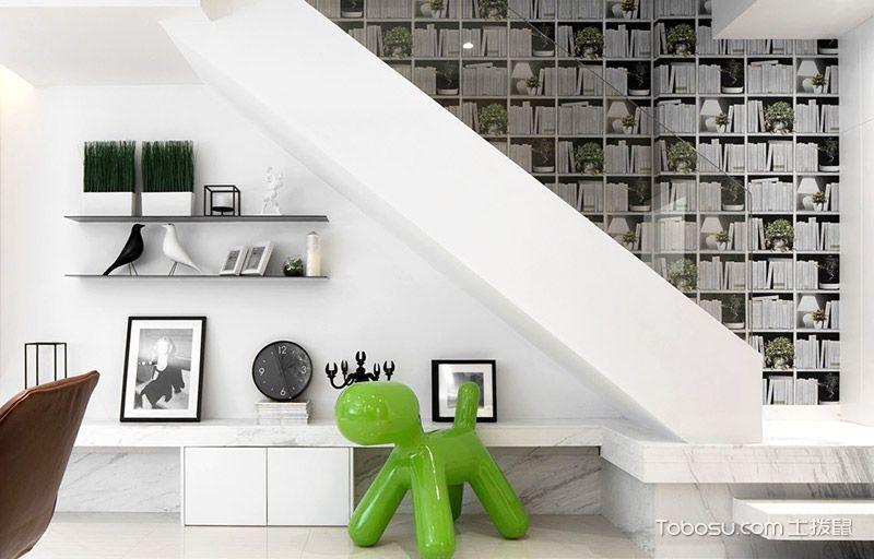 200平米简约风格装修效果图 黑白对话绿色