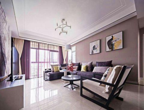 优雅现代简约紫色窗帘装潢实景图片