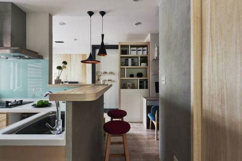 简约原木色开放式厨房室内装修设计