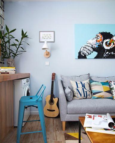 北欧客厅凳子背景墙效果图图片