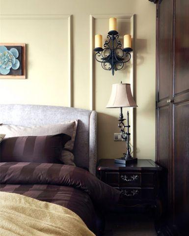 臥室床頭壁燈背景墻美式裝修設計圖片