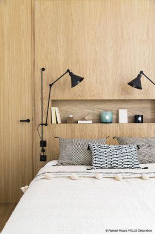 最新原木色卧室床头壁灯效果图图片