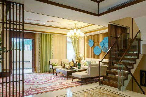 大氣新中式棕色樓梯設計方案