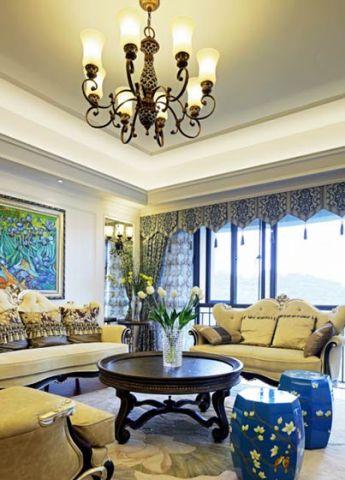 温暖客厅植物吊顶图片