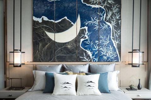 臥室床頭壁燈背景墻新中式設計效果圖