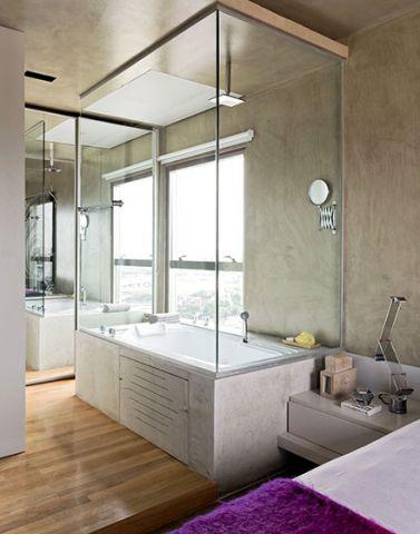 质朴浴室隔断门浴缸装潢效果图