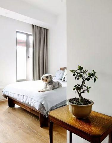 简约卧室植物窗帘室内装修设计