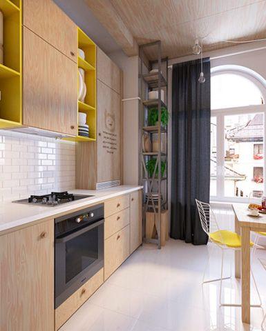 美感原木色开放式厨房装修设计图片