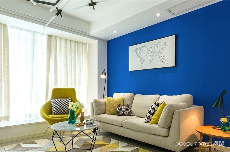 89平北欧风格三居室装修 深蓝色的绅士装