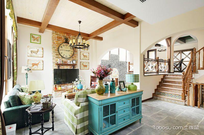 60平米复式田园风格室内装修图片