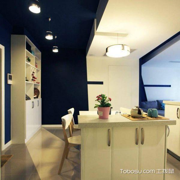 时尚蓝色系 60平简约二居设计