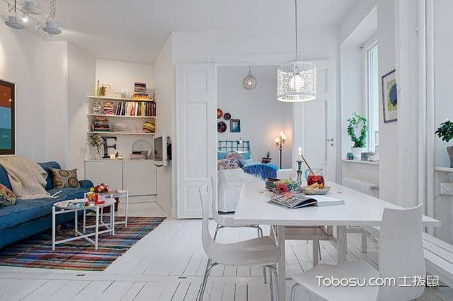 现代复古 60平北欧白色公寓