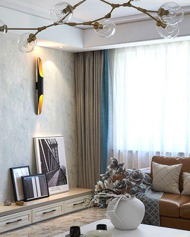 簡約客廳植物窗簾家裝設計