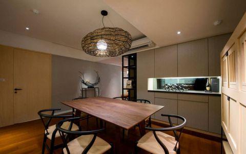 餐厅咖啡色餐桌室内装修设计