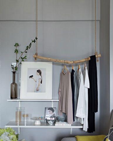 北欧客厅置物架背景墙装修实景图片
