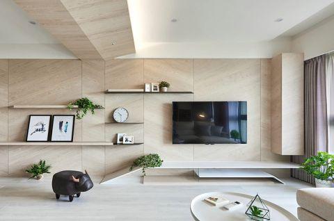 客厅置物架白色吊顶案例图片