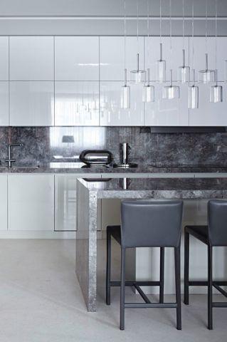 优雅灰色开放式厨房装饰设计