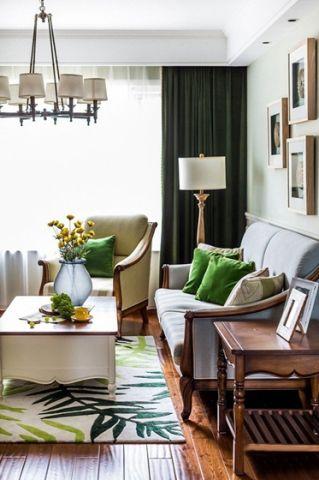 客厅窗帘美式装修案例效果图