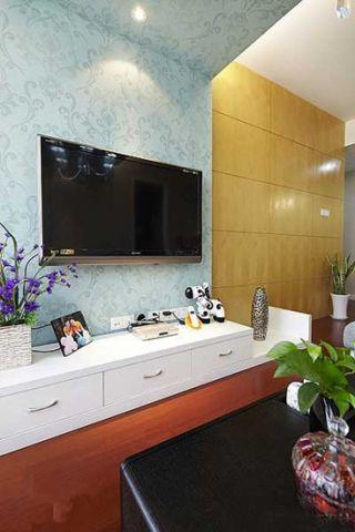 温馨客厅壁纸装潢实景图