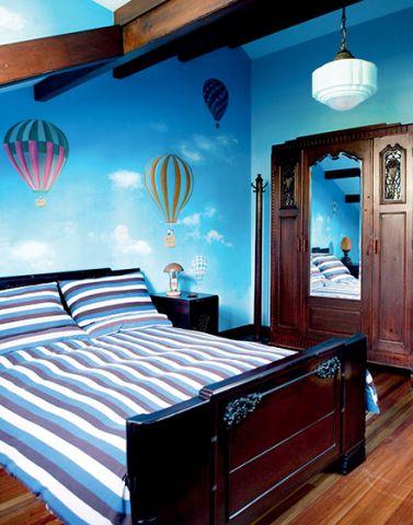 别墅卧室背景墙混搭装潢效果图