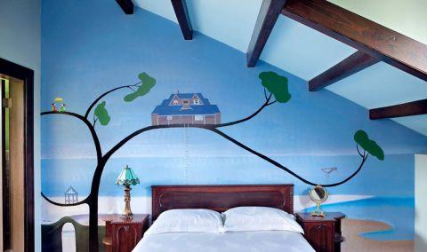 小巧玲珑混搭蓝色背景墙装饰效果图
