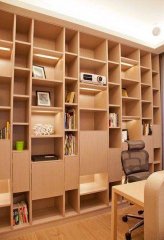 唯美现代简约原木色书架家装设计图
