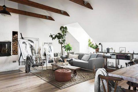 客厅灰色沙发室内装修图片