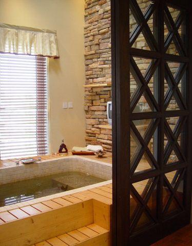 写意简欧原木色浴缸装饰设计图片