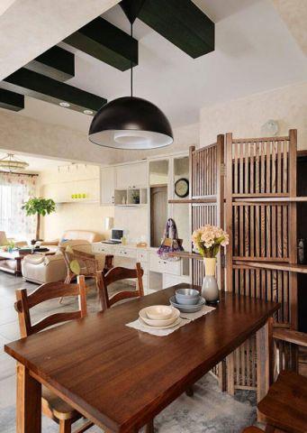 现代中式餐厅餐桌实景图