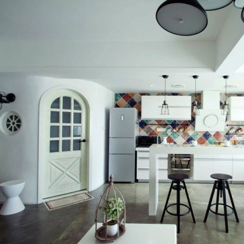 厨房彩色背景墙设计