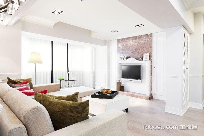 124平米精致华丽简欧风 三室两厅温润空间