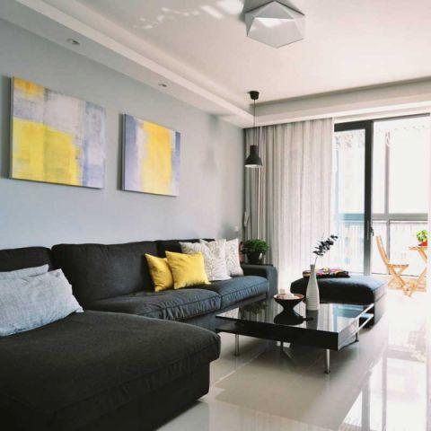 现代简约客厅沙发装饰实景图