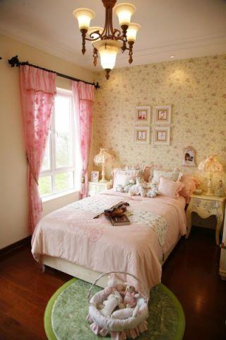 田园女生卧室窗帘设计