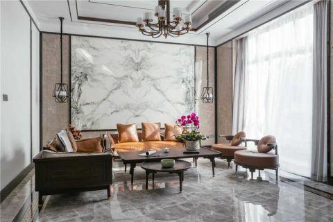 客厅沙发墙窗帘新中式装修方案