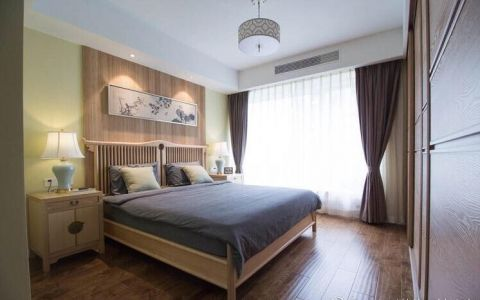 舒适卧室床头灯新中式构造图