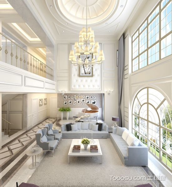 新古典白色奢华别墅效果图_装修图片