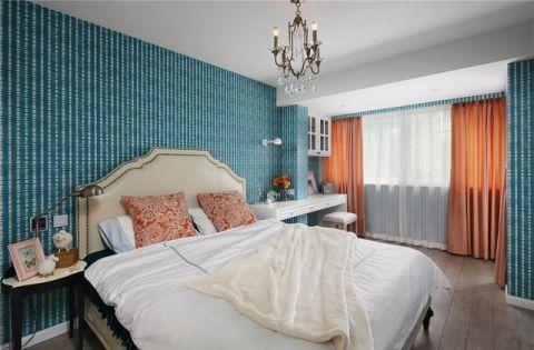 卧室蓝色背景墙室内装饰