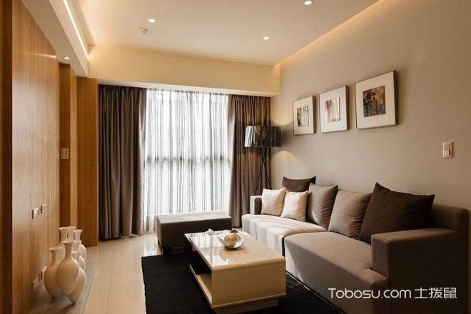 现代简约风格二居室原木色60平米效果图_装修图片