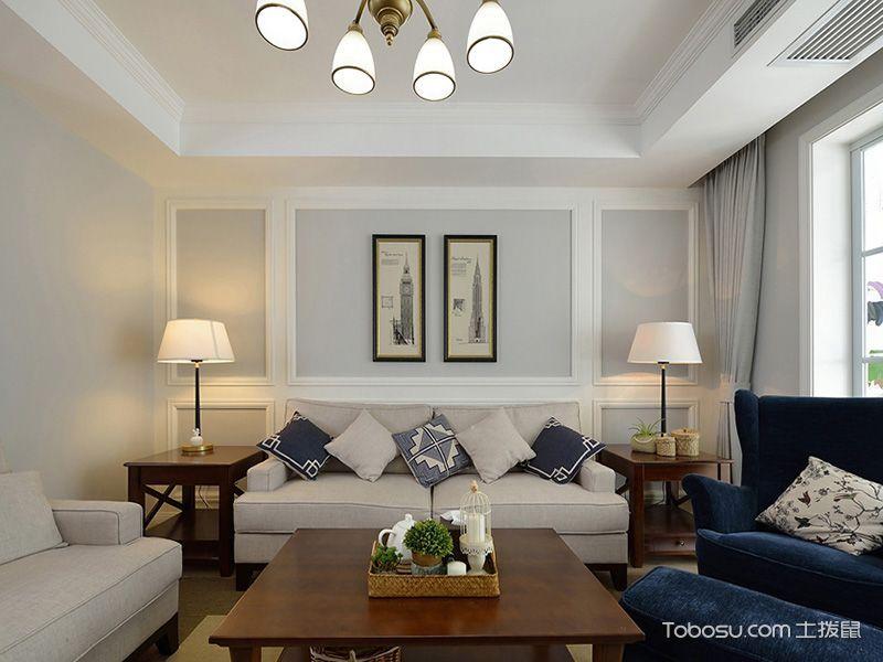 蔚蓝海风美式两居实用装潢设计案例_装修图片