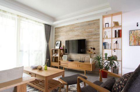 2019日式客厅装修设计 2019日式电视柜装修效果图片