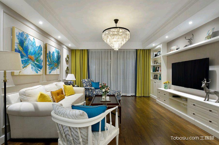 美式风格小户型103平米家装设计图