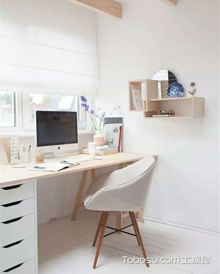 简约临窗书房书桌装修效果图_装修图片