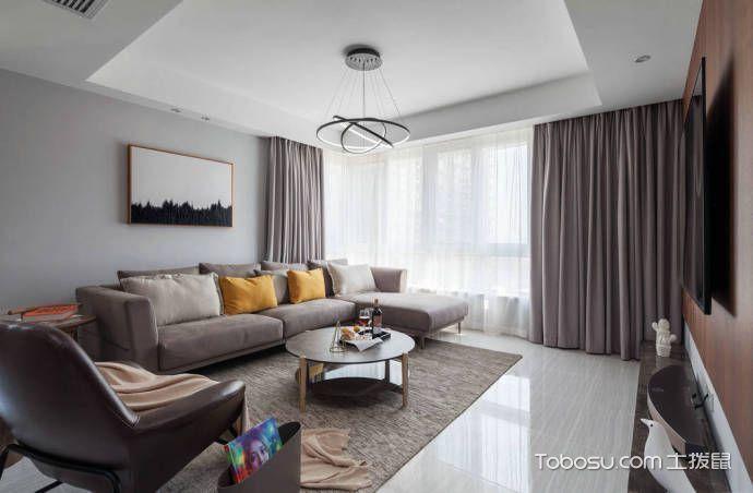 二居室99平米现代简约风格室内效果图