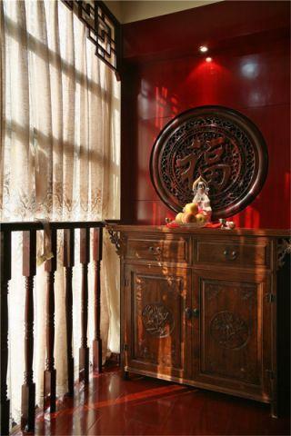 优雅新中式红木色背景墙装饰实景图
