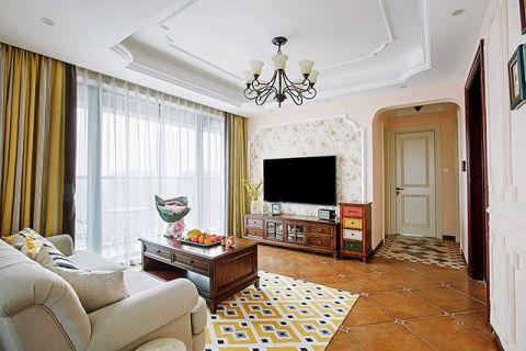 美式客厅窗帘装潢效果图