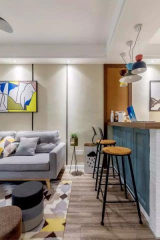 客厅背景墙北欧装潢设计图片