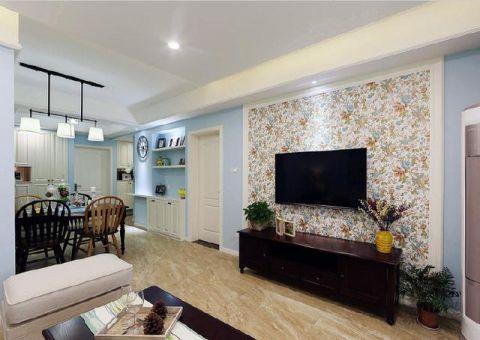 客厅地砖美式装饰实景图